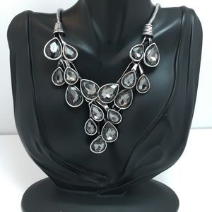 Grey Inset Crystal Silver Necklace